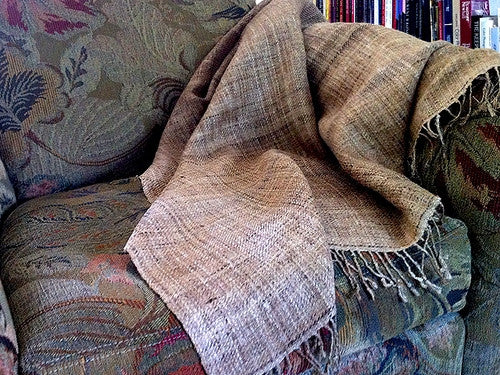 Avani Tussar Silk Throw In Natural Gold