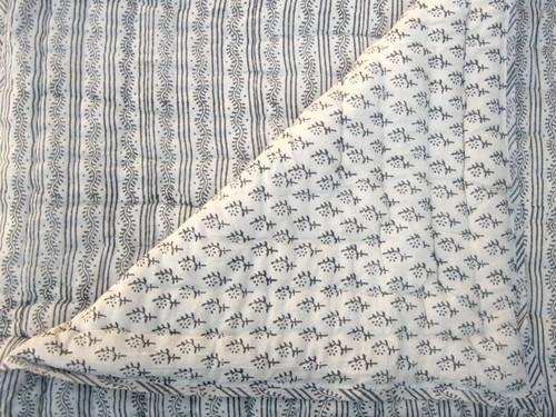 Tilonia® Queen Quilt - Centipede Stripe & Sprig in Slate Grey from Sprout Enterprise®