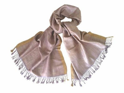 Avani Wild Silk Shawl in Frosted Pink & Lavender with Gold Border
