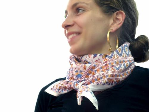 Tilonia® Beachcomber Scarf - Blue & Red Floral Block Print