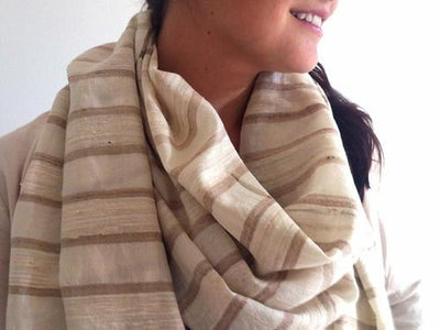Avani Wild Silk & Merino Wool Shawl in Winter White