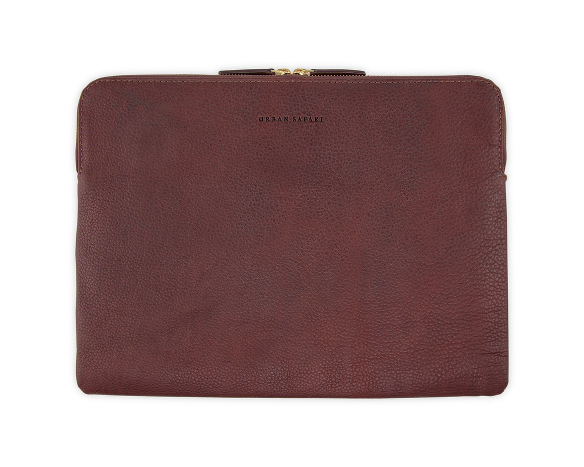 Leather laptop sleeve, leather laptop cover, leather MacBook sleeve, laptop case, Urban Safari London leather laptop sleeve, veg tanned leather laptop sleeve