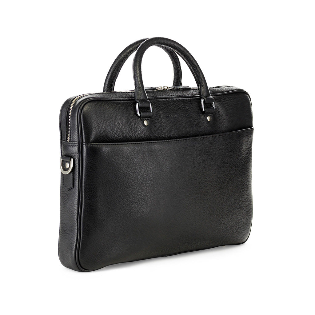 Soft Briefcase, leather soft briefcase, mens leather briefcase, leather laptop bag, black leather laptop bag, Urban Safari Metro Soft Briefcase