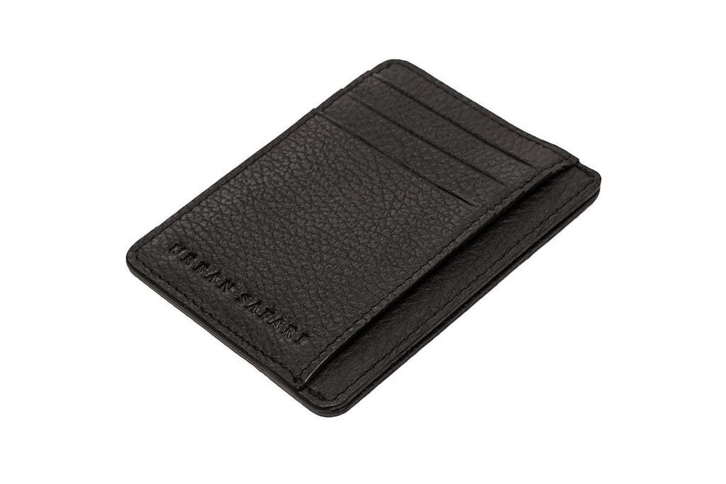 Black Vertical Leather Card Holder