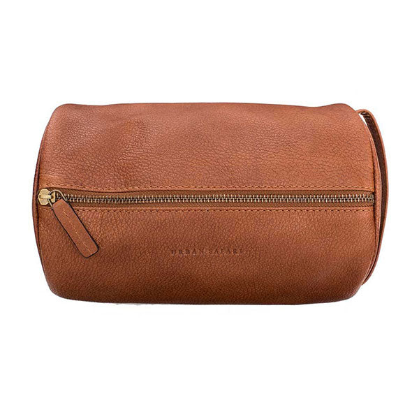 Leather wash bag, mens leather wash bag, tan leather toiletry bag for men