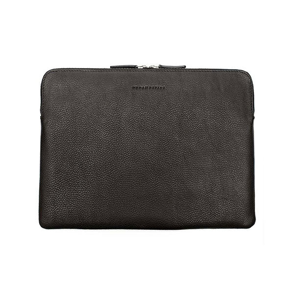 Black leather laptop sleeve, leather laptop cover, leather MacBook sleeve, laptop case, Urban Safari London leather laptop sleeve