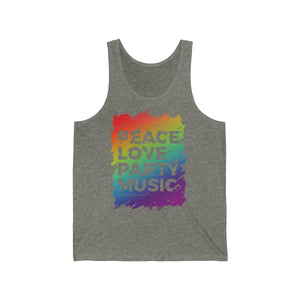 """Peace, Love, Party Music"" - Unisex Jersey Tank"