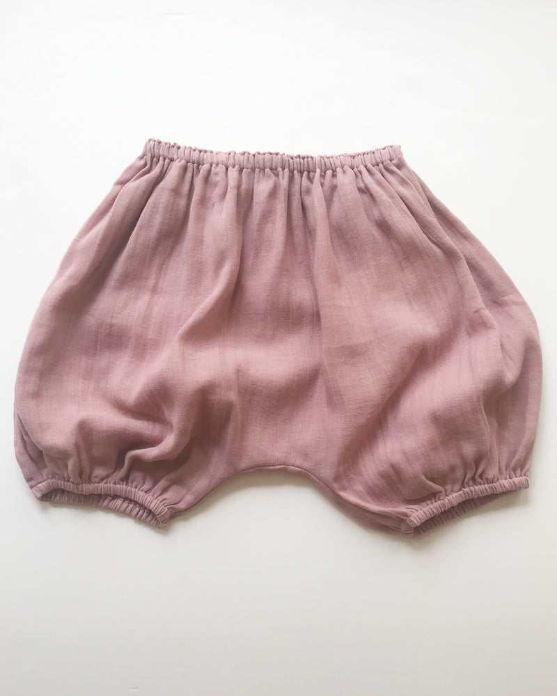 Shorties in Dusty Rose Double voille cotton - printebebe.com