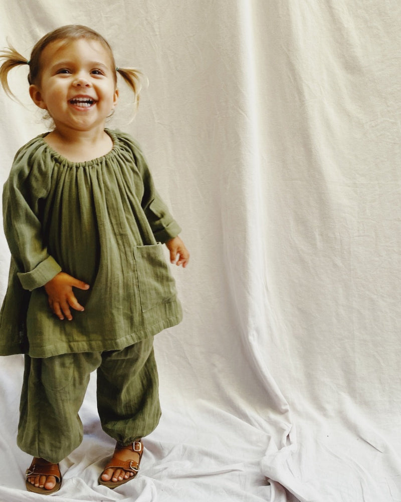 Pocket Smock in golden vintage super soft double voille