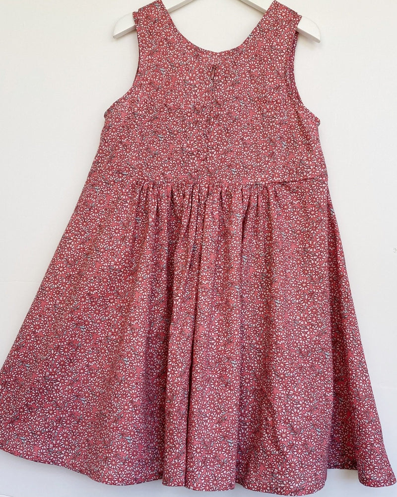 Eva dress in Raspberry cottonbuds classic cotton