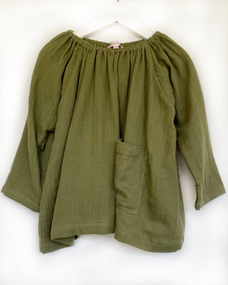 Pocket Smock in Moss double layer cotton voille - printebebe.com