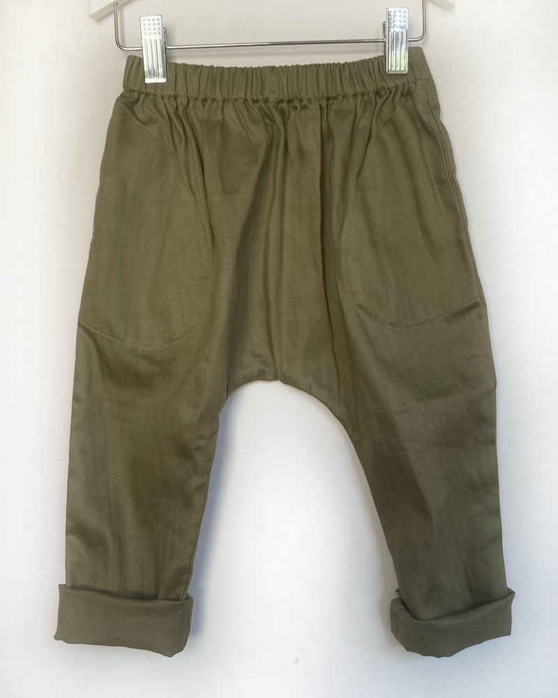 Pull On Pant in Moss cotton drill - printebebe.com