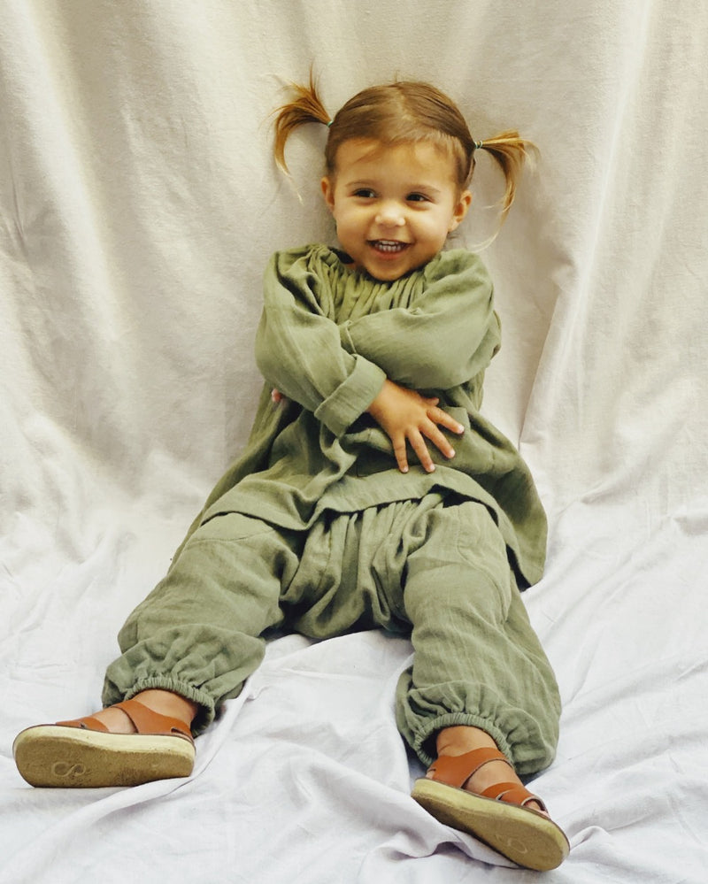 Super Sloucho Pant in Moss super soft double voille - printebebe.com