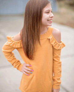 Cold Shoulder Sweater- Oak Buff