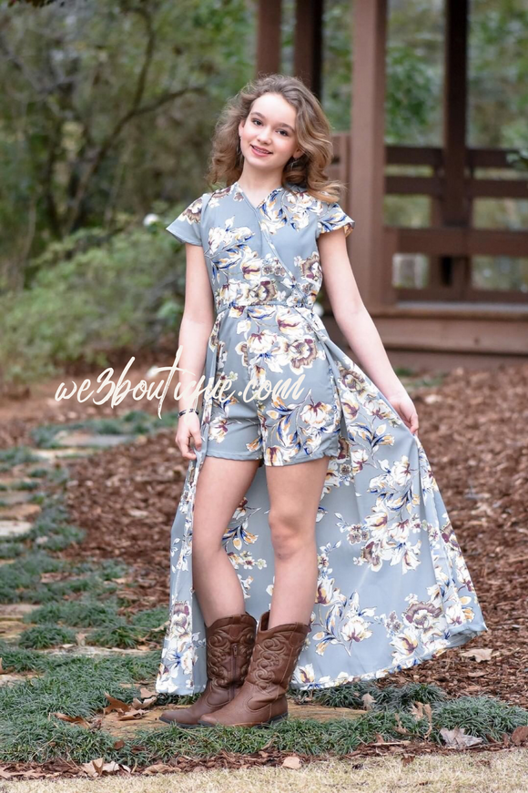 Paisley Flyaway Romper- Gray Floral, tween fashion
