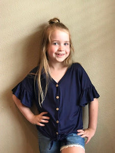 Girls Navy Tie Top