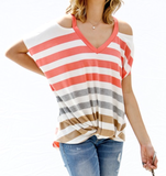 Coral open Shoulder V-Neck