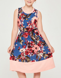 Navy & Peach Floral Dress