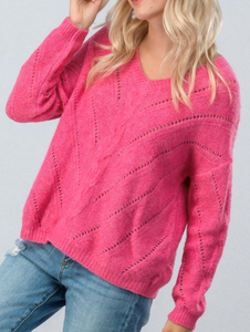 V Neck soft open knit Sweater
