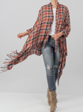 Plaid Fringe Cardigan