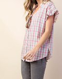 Plaid Ruffle Sleeve Top