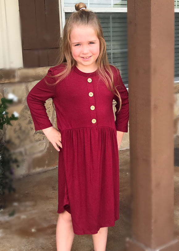 Burgundy Baby Doll Dress