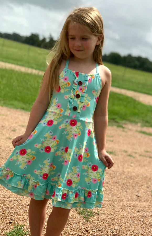 Aqua Floral Girls Dress