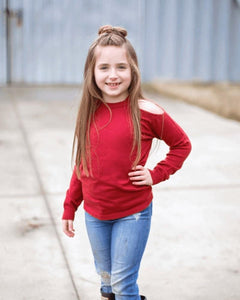 Peek-a-boo Shoulder Sweater- Red Pear