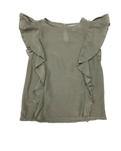 Morgan Side Flutter Top- Sage