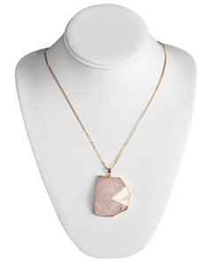 Pink Pyramid Stone Necklace, one size
