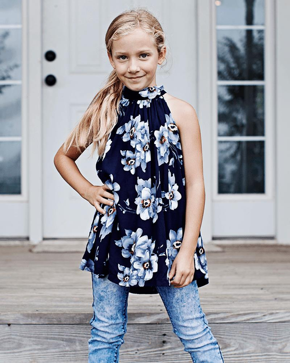 Amanda A-Line Blouse-navy and gray floral