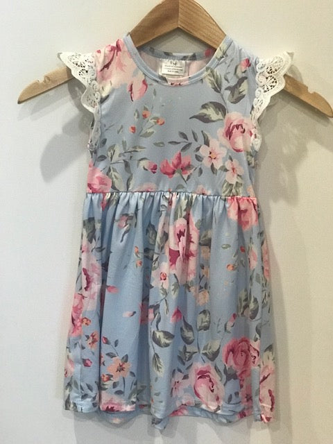 Baby Blue Floral print dress-- 2T-5T