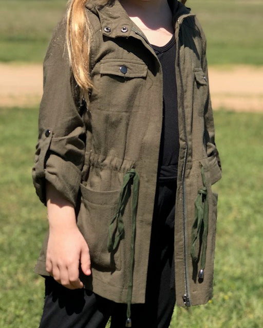 Green- Cargo Hooded Jacket