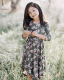 Mandy 3/4 Sleeve Scoop Dress- Hunter Floral, girls dresses