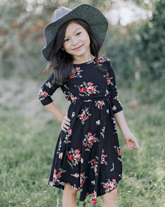 Mandy 3/4 Sleeve Scoop Dress- Black Floral