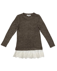 Lace Lined Sweater-Brown