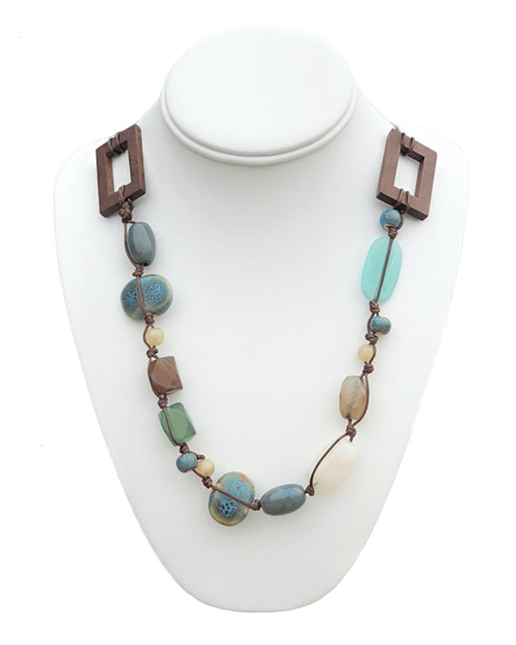 Wood & Turquoise Beaded Necklace