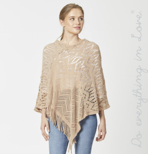 Taupe Open Knit poncho w/fringes