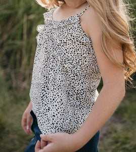 White & black Dotted Tank Top