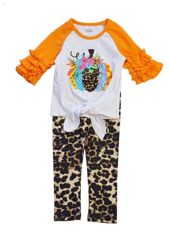 2pc Pumpkin Top w/Leopard Pants