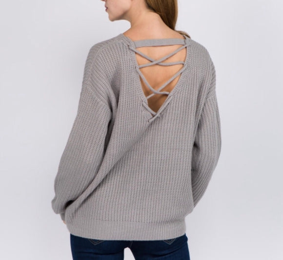 Grey Criss-Cross Back Sweater