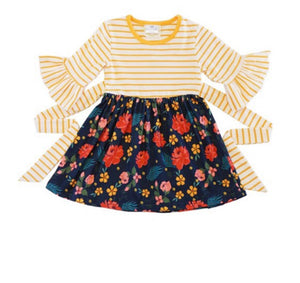 Mustard Stripe w/Floral Print Dress