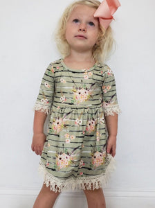 Olive Floral Girls Dress/ Tunic