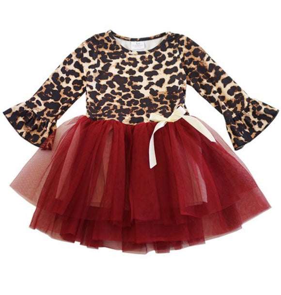 Leopard/Maroon Tulle Dress