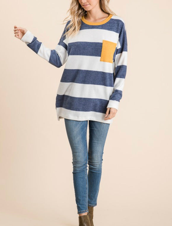 Fleece Long Sleeve Blue Stripe Sweater