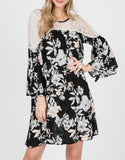 Black Floral Print Dress with Lace