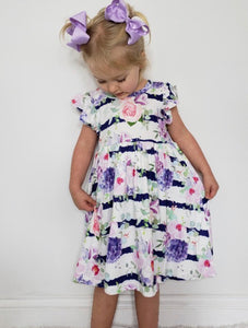 Lavender Floral Girls Dress