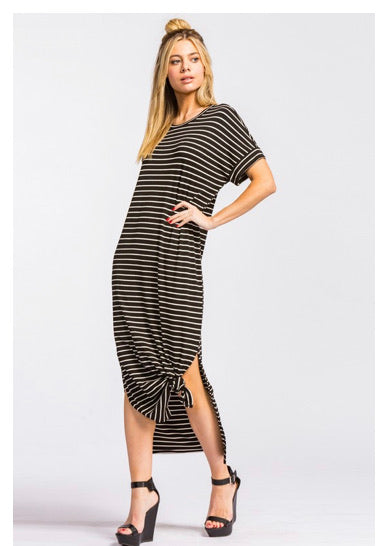 Long Maxi black and White Stripe Dress