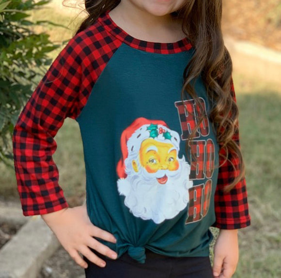 3/4 Sleeve Girls Santa Too-Hunter Green