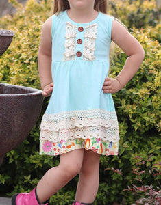 Aqua dress with Ivory Lace trim
